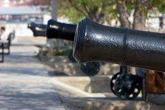 Row of historical cannons in Gibraltar Royalty Free Stock Image