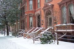 Row Homes in January Stock Photos