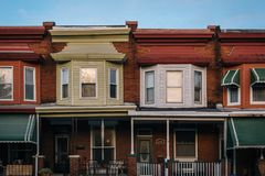 Row homes in Remington, Baltimore, Maryland.  royalty free stock photography