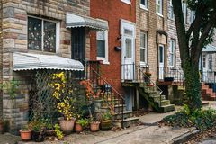 Row homes in Remington, Baltimore, Maryland.  stock image