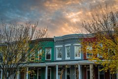 Row homes in Remington at sunset, in Baltimore, Maryland.  royalty free stock photos