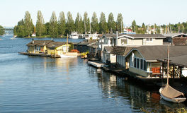 Row of Houseboats on Portage Bay stock images