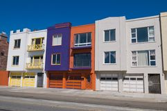 Row houses. A row of colorful houses, San Francisco, California Stock Photo