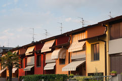 Row of Houses. Colorful row of houses in Italy, Lombardy, Brescia Stock Photos