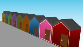 Row Houses. An image of a row of 3d houses stock illustration