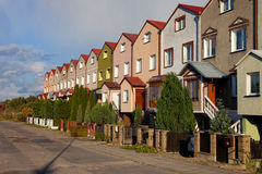 Row houses. Row of houses in Swidwin, Poland Royalty Free Stock Photography