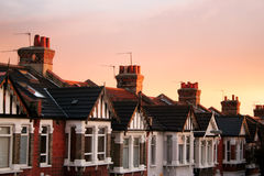 Row Houses. View of British row houses at sunset stock photography