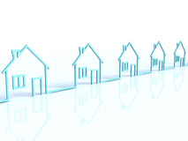 The row of houses. The row of 3d houses Stock Photography