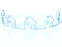 The row of houses. The row of 3d houses Royalty Free Stock Photos