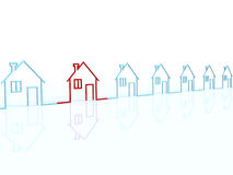 The row of houses. The row of  houses, one is red Stock Photo