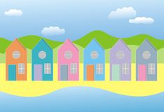 Row of houses. Illustration of a row of six colourful houses by the sea with hills and sky in the background could be used as greetings card Stock Illustration