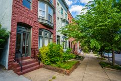 Row houses in Bolton Hill, Baltimore, Maryland.  stock photography