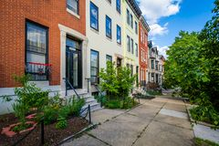 Row houses in Bolton Hill, Baltimore, Maryland.  royalty free stock photo