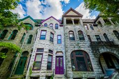Row houses in Bolton Hill, Baltimore, Maryland.  stock photos