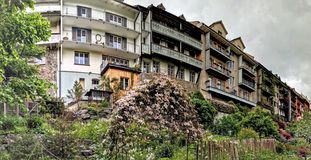 City wall houses and gardens in Bischofszell Switzerland