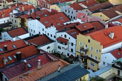 Row of houses Burghausen city center. Aerial image of a row of houses in the historic city center Burghausen, Germany. High-angle shot Royalty Free Stock Image
