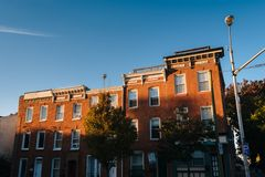 Row houses in Butchers Hill, Baltimore, Maryland.  royalty free stock photo