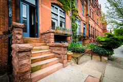 Row houses on Calvert Street, in Midtown-Belvedere, Baltimore, M royalty free stock photography
