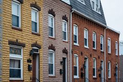 Row houses in Canton, in Baltimore, Maryland.  royalty free stock image
