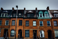 Row houses in Charles North, Baltimore, Maryland. stock photography