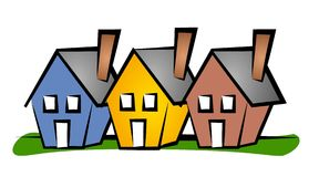 Row of Houses Clip Art House. An illustration of a single row of 3 houses in blue, yellow and red with green grass below Stock Illustration