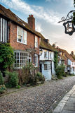 Row of Houses on a Cobbled Street Royalty Free Stock Photos