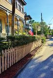 Row of Houses with Flag Royalty Free Stock Images