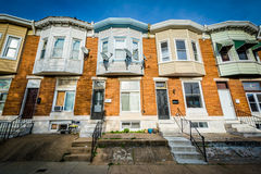 Row houses in Greektown, Baltimore, Maryland. Royalty Free Stock Photography