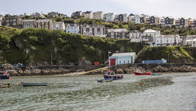 Row of houses and harbour at Mevagissey in Cornwall, England Royalty Free Stock Photo