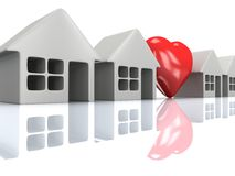 Row of houses and heart with reflection. 3d render. Stock Photography
