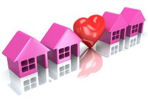 Row of houses and heart with reflection. 3d render. Royalty Free Stock Photo