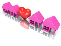 Row of houses and heart with reflection. 3d render. Royalty Free Stock Image