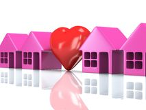 Row of houses and heart with reflection. 3d render. Royalty Free Stock Images