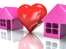 Row of houses and heart with reflection. 3d render. Stock Image