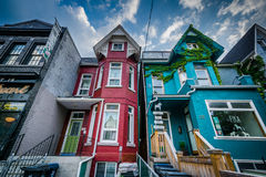 Row houses in the Kensington Market neighbourhood, in Toronto, O royalty free stock images