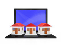 Row of Houses on Laptop Computer Stock Photography