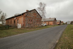 Row of houses listed as monuments in Dargezin, Mecklenburg-Vorpommern, Germany royalty free stock photos