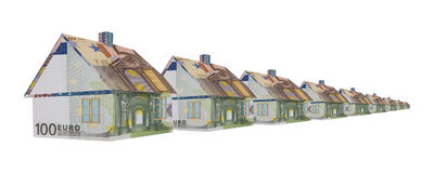 Row of houses made of money Royalty Free Stock Photos