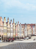 A row of the houses on main square in Telc, Czech Republic. TELC, CZECH REPUBLIC - MAY 10, 2013: Unesco city. A row of the houses on main square Royalty Free Stock Photography