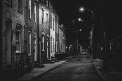 Row houses at night, in Fells Point, Baltimore, Maryland.  royalty free stock image