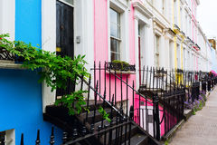 Row houses in Notting Hill, London. Colorful typical row houses in Notting Hill, London, UK Royalty Free Stock Images