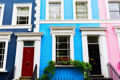 Row houses in Notting Hill, London. Colorful typical row houses in Notting Hill, London, UK Stock Image