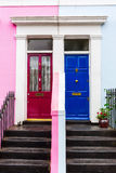 Row houses in Notting Hill, London. Colorful typical row houses in Notting Hill, London, UK Stock Photo