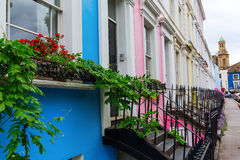 Row houses in Notting Hill, London. Colorful typical row houses in Notting Hill, London, UK Stock Images