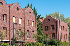 Row houses with red bricks in Berlin. Row houses with red bricks seen in Berlin, Germany Stock Photos