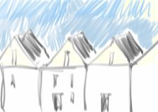 Row Houses. Sketch, new urbanism scenery with building block and gable roofs, illustration in black and white with some beige and blue Royalty Free Stock Image