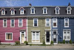 Row Houses, St. John's, Newfoundland Stock Image