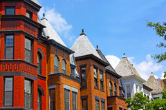 Row houses on a sunny day in Washington DC, USA. Royalty Free Stock Photos