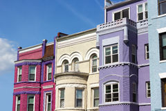 Row houses on a sunny day in Washington DC, USA. Royalty Free Stock Images
