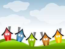 Row of Houses Under Blue Sky. An illustration featuring a row of colourful houses on green grass under a blue sky Royalty Free Illustration